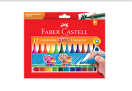 CANETINHA 12 CORES JUMBO TRIANG – FABER CASTELL