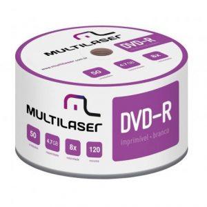 DVD+R TUBO COM 50 IMPRIMÍVEL DV052 – MULTILASER