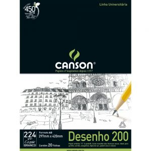BLOCO DESENHO A4 20FLS BRANCO 224GR – CANSON