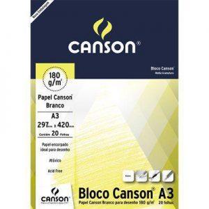 BLOCO PAPEL DESENHO A3 20FLS 180GR – CANSON
